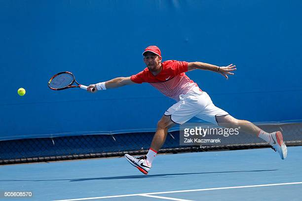 Dudi Sela of Israel plays a forehand in his first round match against Benjamin Becker of Germany during day two of the 2016 Australian Open at...