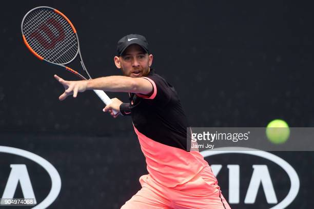 Dudi Sela of Israel plays a forehand in his first round match against Ryan Harrison of the United States on day one of the 2018 Australian Open at...