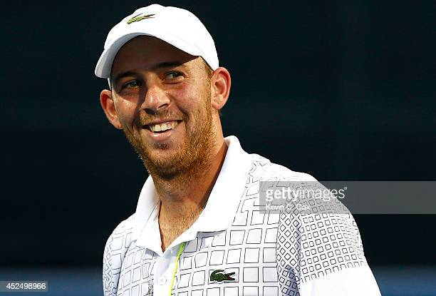 Dudi Sela of Israel reacts after winning a point against Donald Young during the BBT Atlanta Open at Atlantic Station on July 21 2014 in Atlanta...