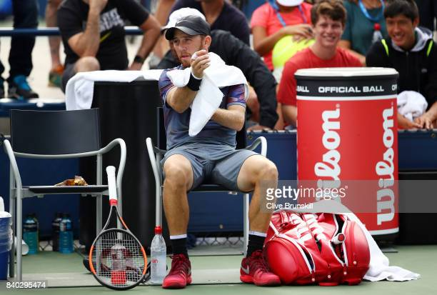 Dudi Sela of Israel reacts during his first round Men's Singles match against Christopher Eubanks of the United States on Day One of the 2017 US Open...