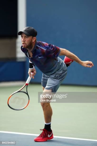 Dudi Sela of Israel serves during his first round Men's Singles match against Christopher Eubanks of the United States on Day One of the 2017 US Open...