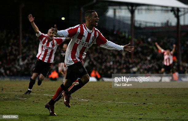 Dudley Campbell of Brentford celebrates after scoring the winning goal during the FA Cup Fourth Round Match between Brentford and Sunderland at...