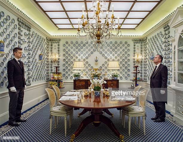 Dudley House owned by Sheikh Hamad bin Abdullah AlThani is photographed for Vanity Fair Magazine on September 3 2014 in London England Two butlers at...
