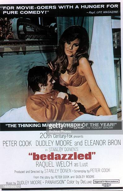 Dudley Moore with Raquel Welch in movie poster for the film 'Bedazzled' 1967