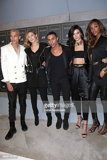 Dudley O'Shaughnessy Gigi Hadid Olivier Rousteing Kendall Jenner and Jourdan Dunn arrive at the BALMAIN X HM collection launch event at 23 Wall...