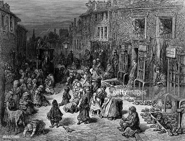 'Dudley Street Seven Dials' 1872 showing a Victorian slum in the City of Westminster LondonTaken from London A Pilgrimage by Blanchard Jerrold and...