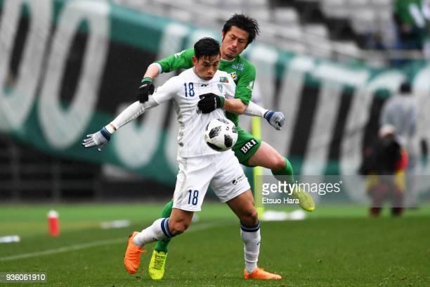 Dudu of Avispa Fukuoka and Shinnosuke Hatanaka of Tokyo Verdy compete for the ball during the JLeague J2 match between Tokyo Verdy and Avispa Fukuoka...