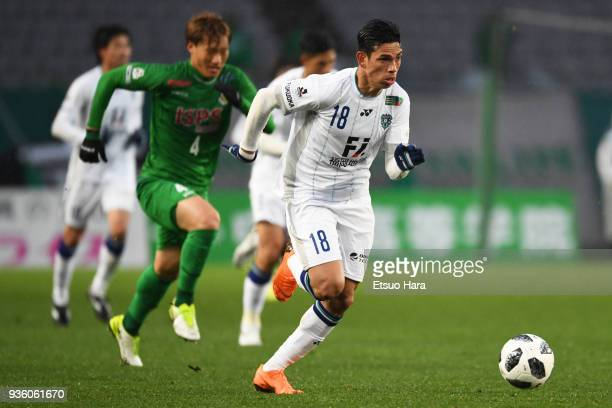 Dudu of Avispa Fukuoka in action during the JLeague J2 match between Tokyo Verdy and Avispa Fukuoka at Ajinomoto Stadium on March 21 2018 in Chofu...