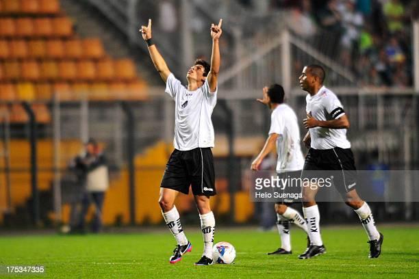Dudu of Bragantino celebrates a scored goal during the match between Palmeiras and Bragantino for the Brazilian Championship Serie B 2013 at Pacaembu...