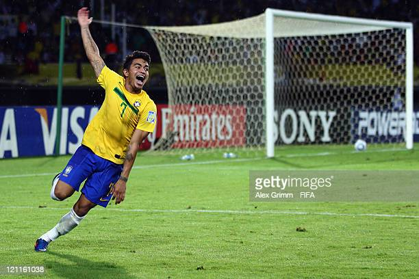 Dudu of Brazil celebrates after his deciding penalty during the penalty shootout at the FIFA U20 World Cup 2011 quarter final match between Brazil...