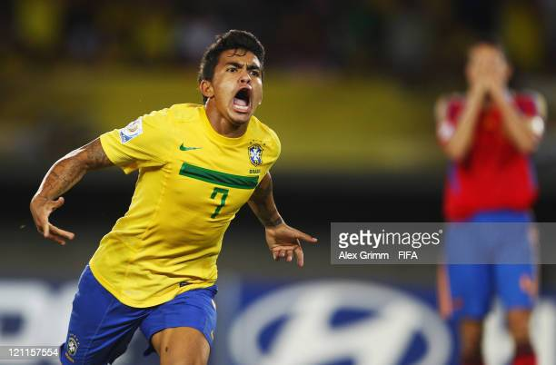 Dudu of Brazil celebrates his team's second goal during the FIFA U20 World Cup 2011 quarter final match between Brazil and Spain at Estadio Hernan...