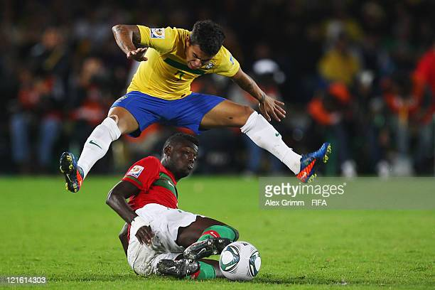Dudu of Brazil is challenged by Pele of Portugal during the FIFA U20 World Cup 2011 final between Brazil and Portugal at Estadio Nemesio Camacho 'El...