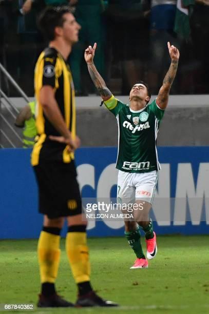 Dudu of Brazil´s Palmeiras celebrates his goal scored against Uruguay's Penarol during their 2017 Copa Libertadores football match held at Allianz...