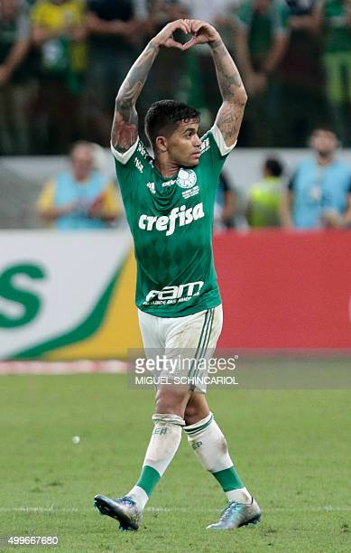 Dudu of Brazil's Palmeiras celebrates his second goal against Brazil's Santos during their 2015 Brazil Cup second leg final football match at Allianz...