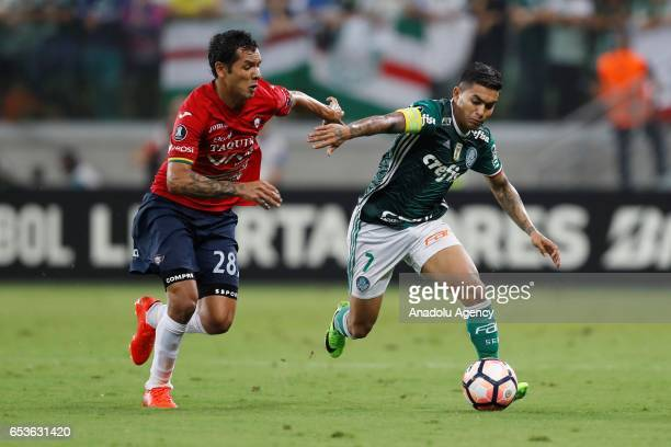Dudu of Brazil's Palmeiras control the ball next to Omar Morales of Bolivia's Jorge Wilstermann during their Libertadores Cup football match held at...