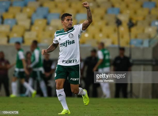 Dudu of Palmeiras celebrates after scoring the first goal of his team during a match between Flamengo and Palmeiras as part of Brasileirao Series A...