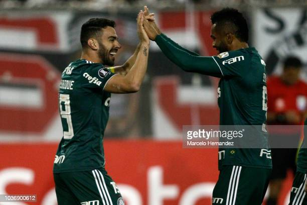 Dudu of Palmeiras celebrates after scoring the second during a quarter final first leg match between Colo Colo and Palmeiras as part of Copa CONMEBOL...