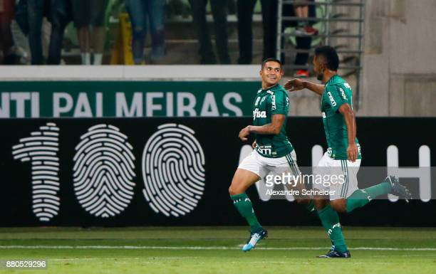 Dudu of Palmeiras celebrates after scoring their first goal during the match against Botafogo for the Brasileirao Series A 2017 at Allianz Parque...