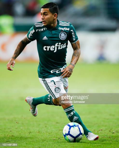 Dudu of Palmeiras controls the ball during the match against Botafogo for the Brasileirao Series A 2018 at Allianz Parque Stadium on August 22 2018...