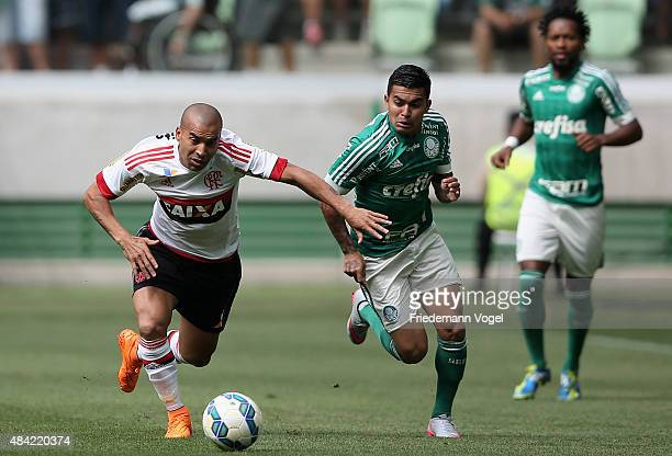 Dudu of Palmeiras fights for the ball with Emerson of Flamengo during the match between Palmeiras and Flamengo for the Brazilian Series A 2015 at...