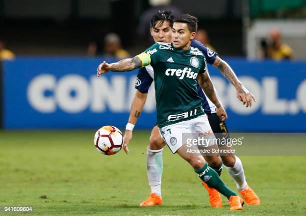 Dudu of Palmeiras of Brazil in action during the match against Alianza Lima of Peru for the Copa CONMEBOL Libertadores 2018 at Allianz Parque Stadium...