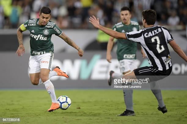 Dudu of Palmeiras passes the ball to Alejandro Guerra score their first goal during the match between Botafogo and Palmeiras as part of Brasileirao...