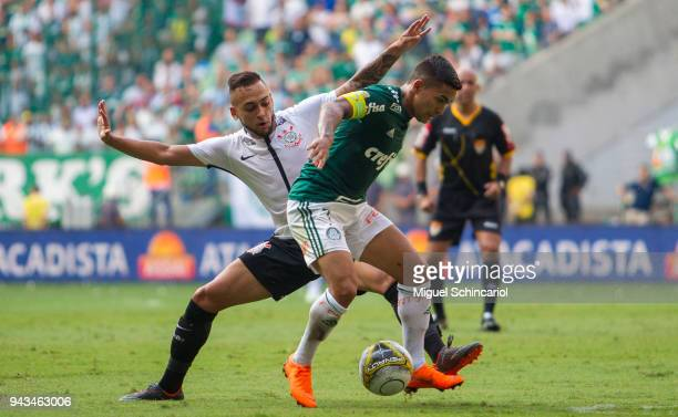 Dudu of Palmeiras vies the ball with Maycon of Corinthians during a match between Palmeiras and Corinthians in the final of Paulista Championship...