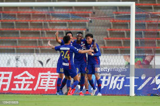 Dudu of Ventforet Kofu celebrates scoring his side's second goal with his team mates during the J.League Meiji Yasuda J2 match between Ventforet Kofu...