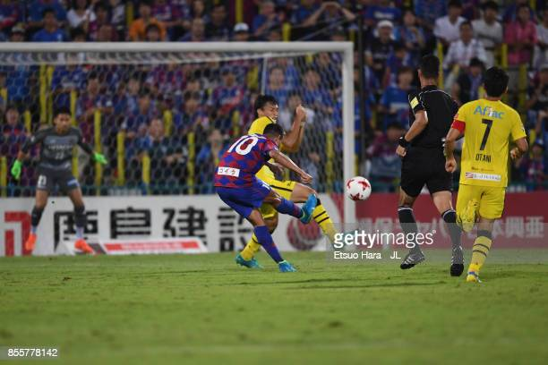 Dudu of Ventforet Kofu scores the opening goal during the J.League J1 match between Kashiwa Reysol and Ventforet Kofu at Hitachi Kashiwa Soccer...