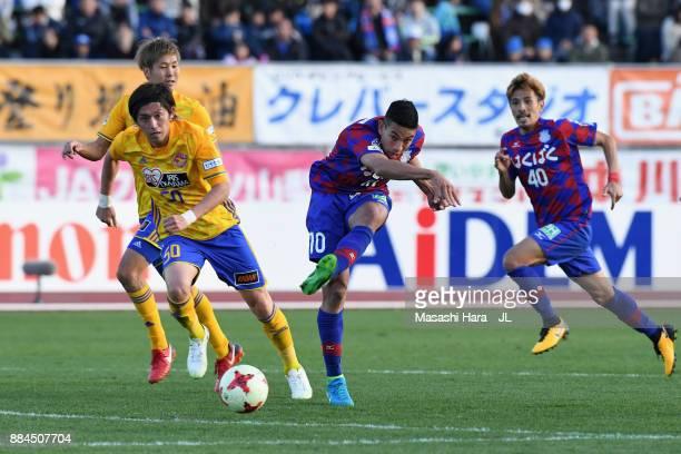 Dudu of Ventforet Kofu shoots at goal during the JLeague J1 match between Ventforet Kofu and Vegalta Sendai at Yamanashi Chou Bank Stadium on...