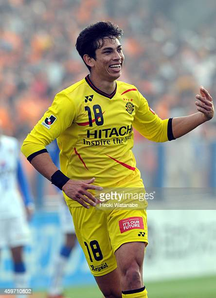 Dudu whose real name is Luiz Eduardo dos Santos Gonzaga of Kashiwa Reysol celebrates scoring a goal during the JLeague match between Kashiwa Reysol...