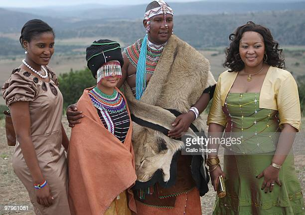 Duduzile Zuma and Thobeka Madiba with Mandla Mandela and his French wife Anais Grimaud during their traditional wedding at the Mvezo Royal Palace on...