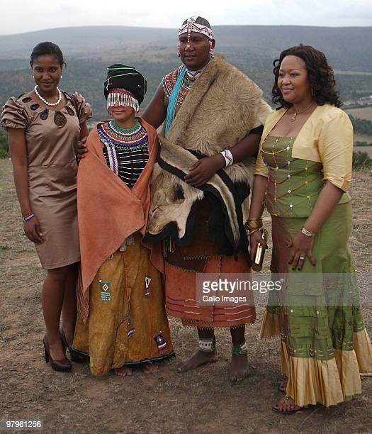 Duduzile Zuma and Thobeka Madiba with Mandla Mandela and his French wife Anais Grimaud during their traditional wedding at the Mvezo Royal Palace on...