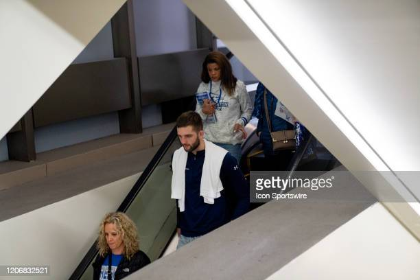 Due to concerns over the Coronavirus disease Creighton guard Mitch Ballock leaves Madison Square Garden with his family after the cancellation of the...