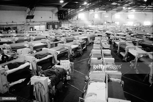 Due to extreme overcrowding within California's prison system a former gym at the Dual Vocational Institute has been converted to a bunk bed housing...