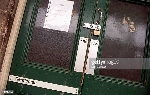 Due to lack of funding for services doors to the restroom are padlocked shut December 4 2000 at Chester Station England The British rail system has...