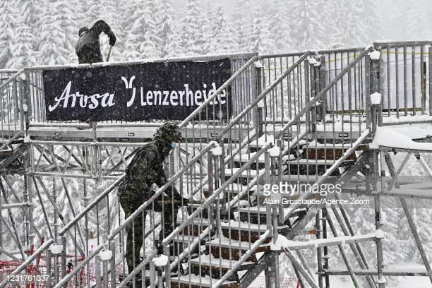 Due to the bad weather conditions, trainings and races are cancelled during the Audi FIS Alpine Ski World Cup Men's Downhill on March 17, 2021 in...