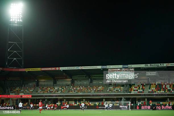 Due to the corona quarantine there were no spectators in the stands during the Danish 3F Superliga match between Silkeborg IF and AGF Arhus at JYSK...