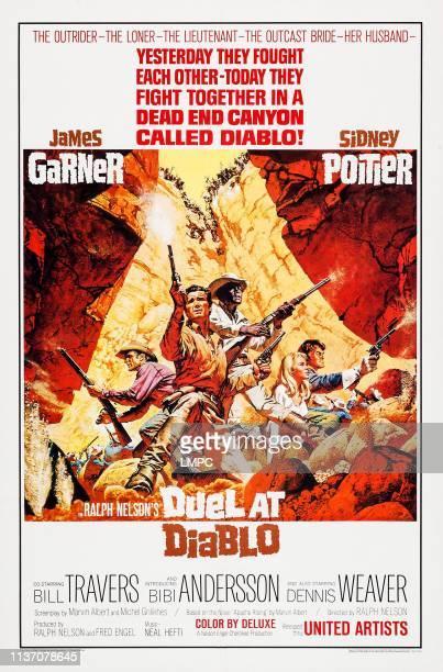 Duel At Diablo poster US poster art from left Dennis Weaver James Garner Sidney Poitier Bibi Andersson Bill Travers 1966