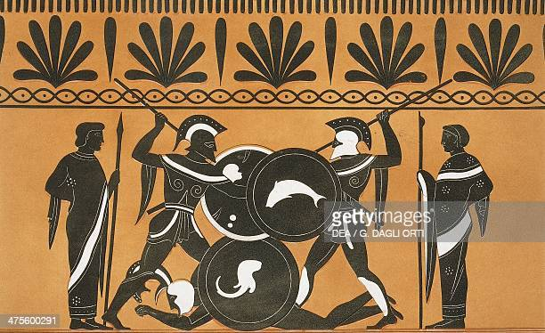 Duel between Ajax and Hercules to recover Patroclus' body illustration from Collection des vases grecs de le Comte de M Lamberg vol II Table 13 Paris...