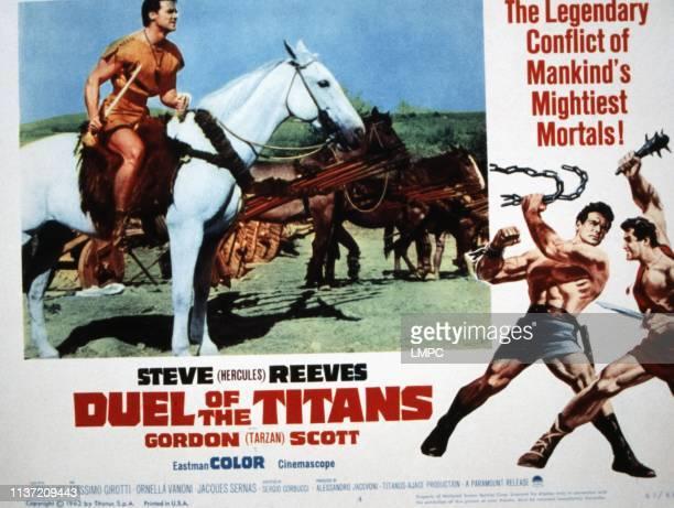 Duel Of The Titans lobbycard Steve Reeves fighting from left Steve Reeves Gordon Scott 1961