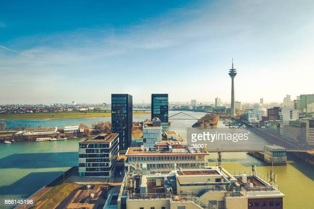 duesseldorf cityscape, germany - north rhine westphalia stock pictures, royalty-free photos & images