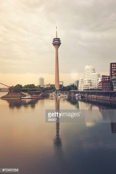 duesseldorf cityscape with communication tower, germany