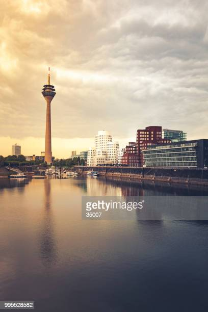 duesseldorf germany cityscape at sunset - düsseldorf stock pictures, royalty-free photos & images