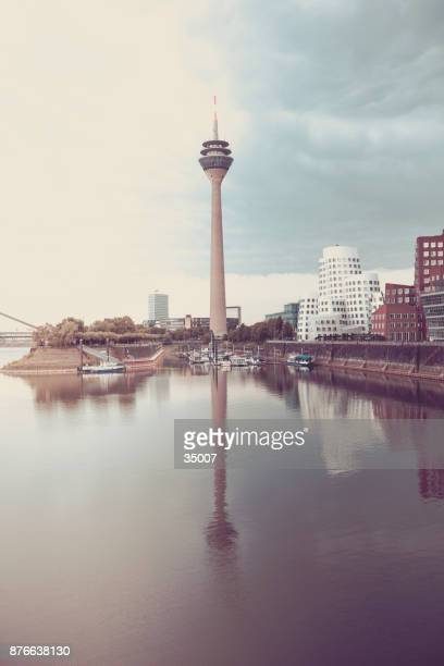 duesseldorf tv tower and modern skyline in germany