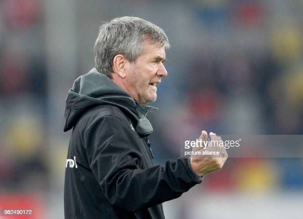 Duesseldorf's coach Friedhelm Funkel gesticulating during the German 2nd division Bundesliga soccer match between Fortuna Duesseldorf and SV...