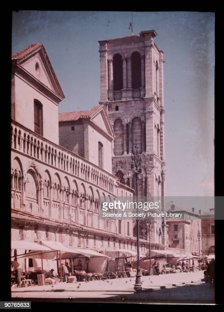 Dufaycolor colour transparency of the Cathedral in Ferrara Italy taken by an unknown photographer in about 1937 Built during the 12th century it is...