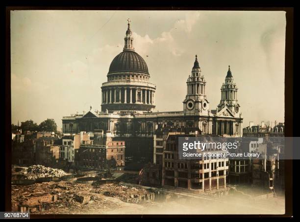 Dufaycolor colour transparency taken by an unknown photographer in about 1943 St Paul's was an inspiration to the nation during the Second World War...