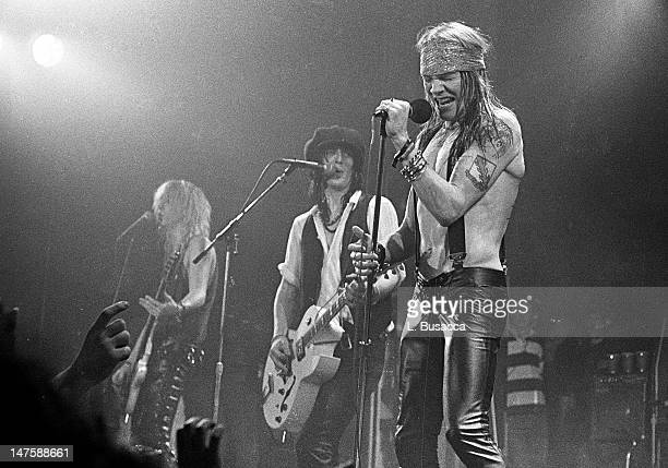 Duff McKagan and Axl Rose of Guns 'n' Roses perform in concert at the Ritz on February 2 1988 in New York City