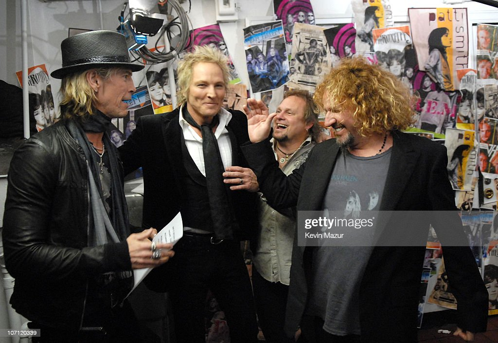Duff McKagan and Matt Sorum of Velvet Revolver, presenters, with Michael Anthony and Sammy Hagar of Van Halen, inductees *EXCLUSIVE*